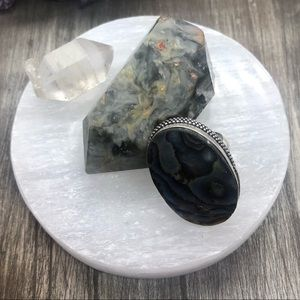 Polished round selenite crystal charging plate